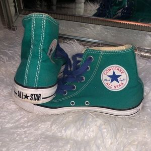 Turquoise High Top Converse with Royal Blue Laces